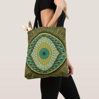 Tote Bag Observant le mandala d'oeil jaune et vert de