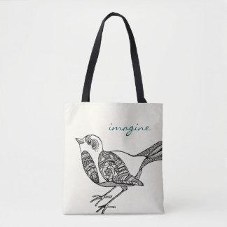 Tote Bag Oiseau Fourre-tout dans le noir et le Teal