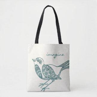 Tote Bag Oiseau Fourre-tout dans Teal