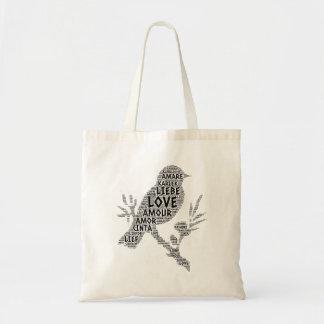 Tote Bag Oiseau illustré avec le mot d'amour