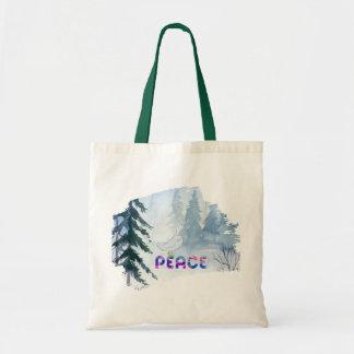 Tote Bag Oiseau mignon se reposant sur la paix en hiver