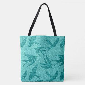 Tote Bag Oiseaux japonais en vol, turquoise et Aqua