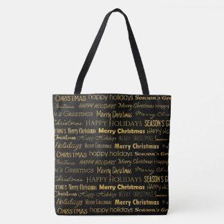 Tote Bag Or à la mode de motif de typographie de Noël