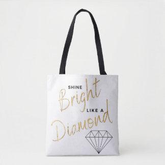 Tote Bag Or blanc de Faux de diamant d'éclat de noir