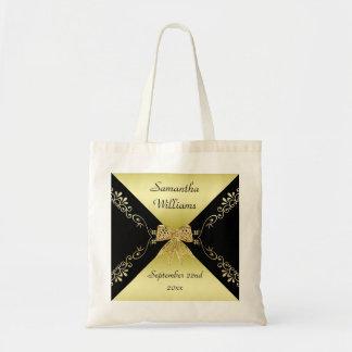 Tote Bag Or élégant et arc décoratif noir tout événement