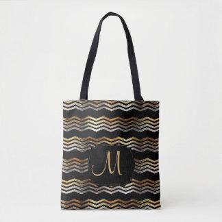 Tote Bag Or et conception noire d'Ikat Chevron