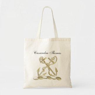 Tote Bag Or héraldique de Faux d'emblème de crête de double