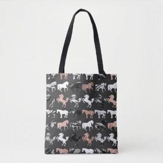 Tote Bag Or rose et chevaux modernes de marbre noirs et