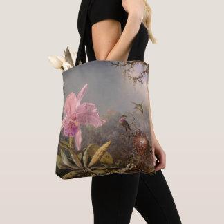 Tote Bag Orchidée de Cattleya et trois colibris