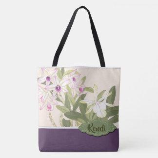 Tote Bag Orchidée pourpre et blanche personnalisée