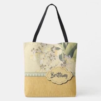 Tote Bag Orchidées de léopard en jaune et crème