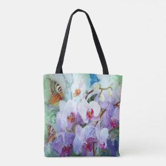 Tote Bag Orchidées et papillons d'aquarelle
