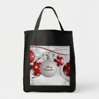 Tote Bag Ornement de Joyeux Noël en l'argent et rouge