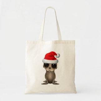 Tote Bag Otarie de bébé utilisant un casquette de Père Noël