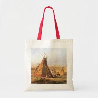 Tote Bag Ouest américain vintage, Teepees sur la plaine par