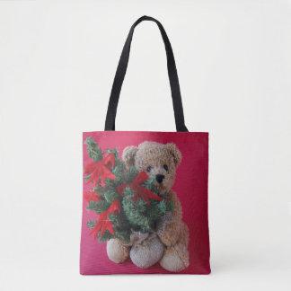 Tote Bag Ours de nounours avec l'arbre de Noël