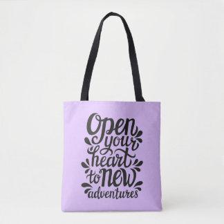 Tote Bag Ouvrez votre coeur à de nouvelles aventures