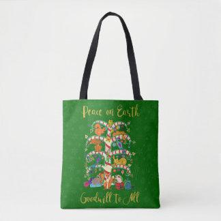Tote Bag Paix sur l'arbre animal de la terre du client de