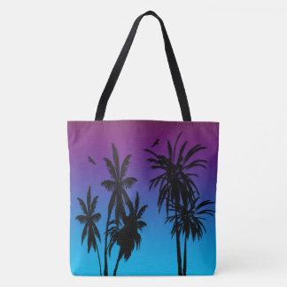 Tote Bag Palmiers de noir de brume de coucher du soleil du