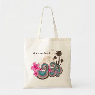 Tote Bag Palmiers tropicaux de plage de ketmie de roses