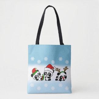 Tote Bag Pandas de Noël
