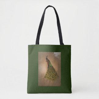 Tote Bag Paon gracieux sur le vert riche