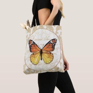 Tote Bag Papillon orange vintage