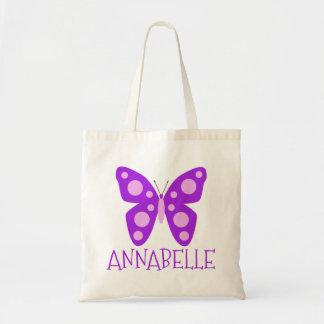 Tote Bag Papillon rose pourpre de filles nommées faites sur