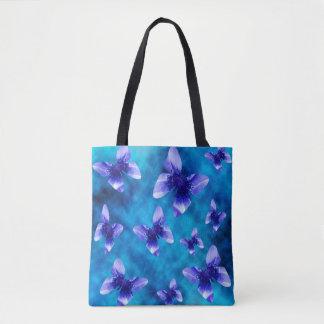 Tote Bag Papillons de pavot bleu sur le bleu,
