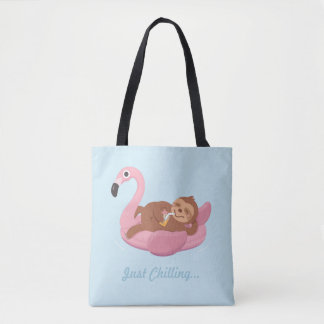 Tote Bag Paresse paresseuse mignonne l'été rose Fourre-tout