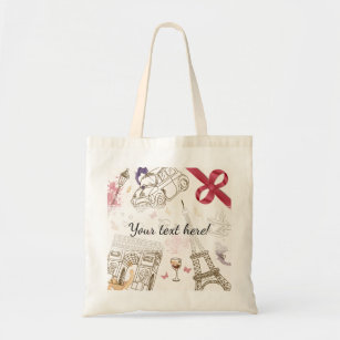 Tote Bag Paris rose Girly chic lunatique