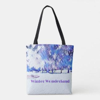 Tote Bag Paysage artistique du pays des merveilles blanc