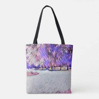Tote Bag Paysage peint par blanc Fourre-tout de rose de