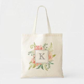 Tote Bag Pêches et aquarelle crème florales avec le