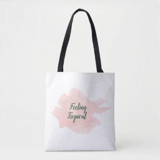 Tote Bag Peint à la main rose tropical d'aquarelle