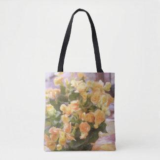 Tote Bag Peinture à l'huile ; Fermez-vous du bégonia orange