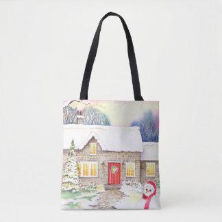 Tote Bag Peinture d'aquarelle de cottage de Milou