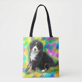 Tote Bag Peinture d'art d'aquarelle de chien de montagne de