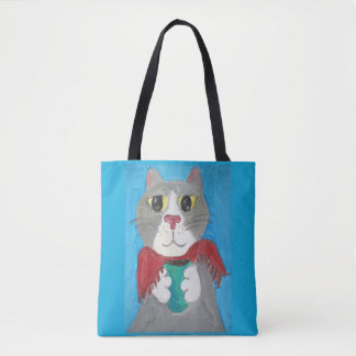 Tote Bag Peinture grise mignonne de chat de café