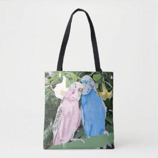 Tote Bag Perruches et fleurs de trompette blanches d'ange