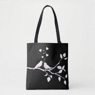 Tote Bag Perruches noires et blanches épousant/douche