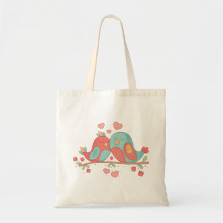 Tote Bag Perruches roses et amour bleu de mariage de