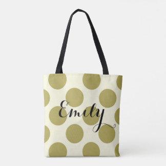 Tote Bag Personnalisable crème vert de pois de XL avec le