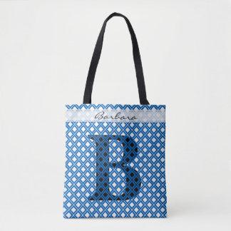 Tote Bag Personnalisez : Bleu initial audacieux/noir