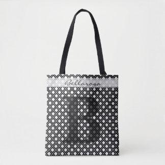 Tote Bag Personnalisez : Géométrique noir/blanc initial
