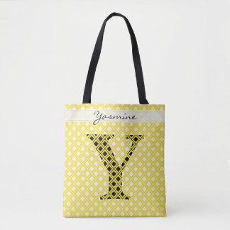 Tote Bag Personnalisez : Jaune initial audacieux/noir