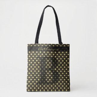 Tote Bag Personnalisez : Noir initial audacieux/or