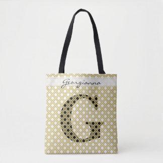 Tote Bag Personnalisez : Or initial audacieux/noir