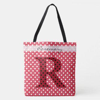 Tote Bag Personnalisez : Rouge initial audacieux/noir