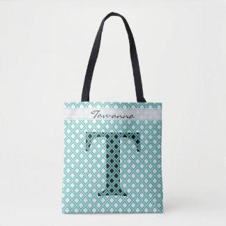 Tote Bag Personnalisez : Teal initial audacieux/noir